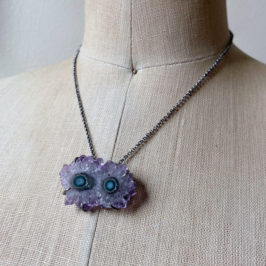 Amethyst Stalactite Slice Necklace #3- Sterling Silver