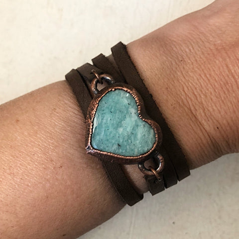 Amazonite Heart and Leather Wrap Bracelet/Choker