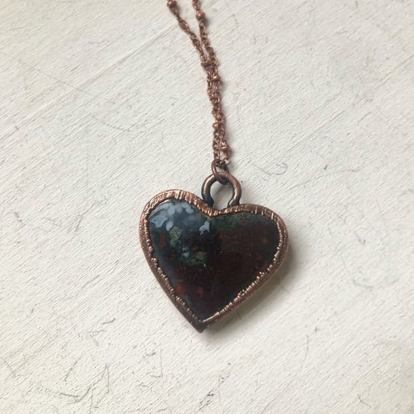 Moss Agate Heart Necklace #6 - Ready to Ship