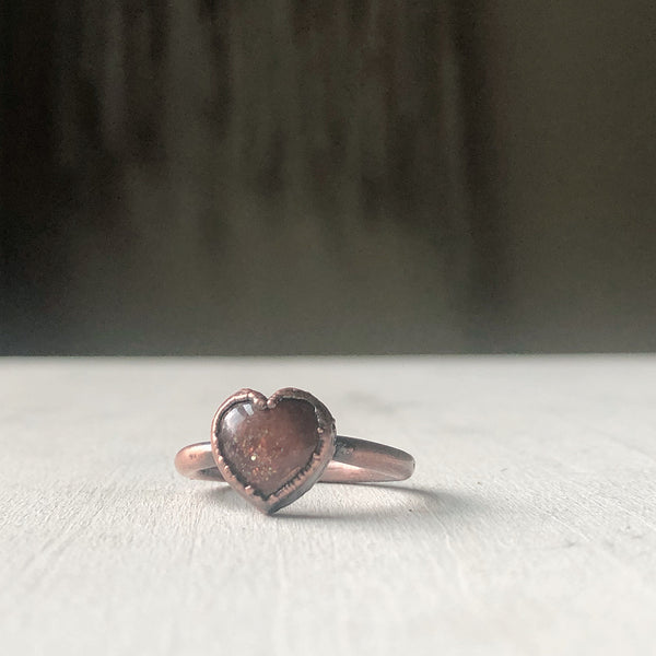 Sunstone Heart Ring - #3 (Size 7) - Ready to Ship