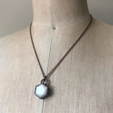 White Moonstone Hexagon Necklace #2 - Ready to Ship