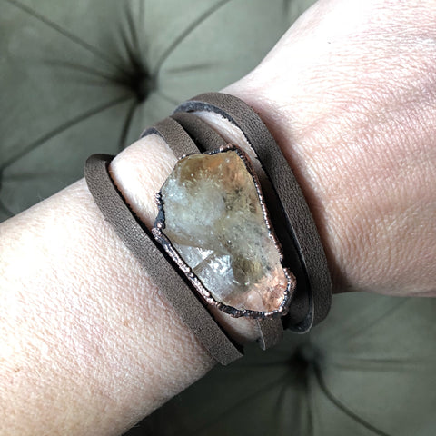 Raw Citrine and Leather Wrap Bracelet/Choker - Ready to Ship