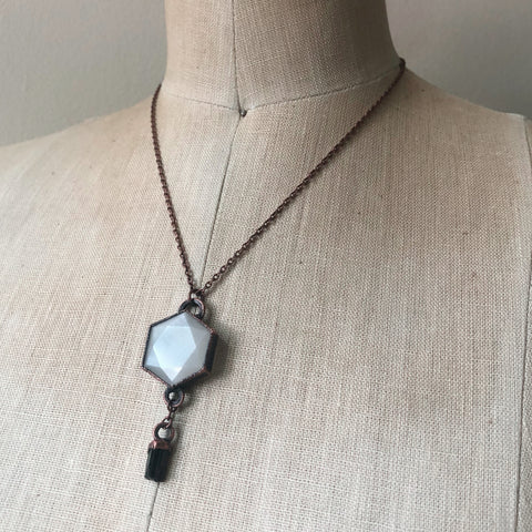 White Moonstone Hexagon and Dravite Necklace #3 - Ready to Ship