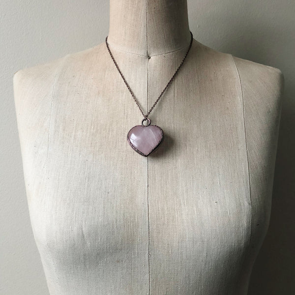 Rose Quartz Heart Necklace #5