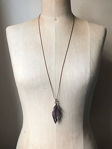Electroformed Feather Necklace with Raw Ruby Accent (Ready to Ship) - Darkness Calling Collection