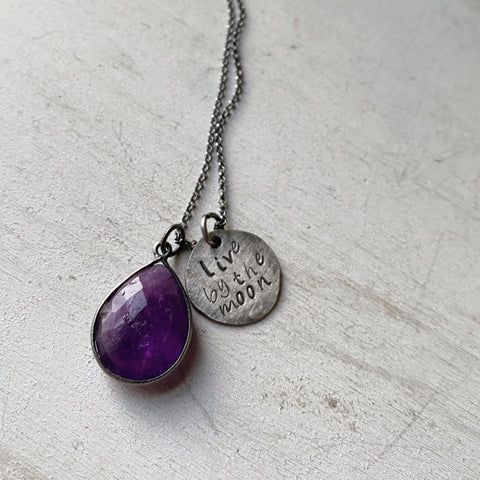 Live By the Moon Necklace with Amethyst (Small)- Ready to Ship