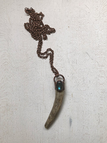 Labradorite & Naturally Shed Deer Antler Tip Necklace #3