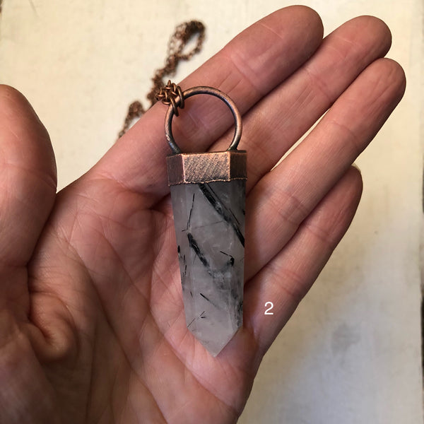 Tourmilinated Quartz Point Necklace