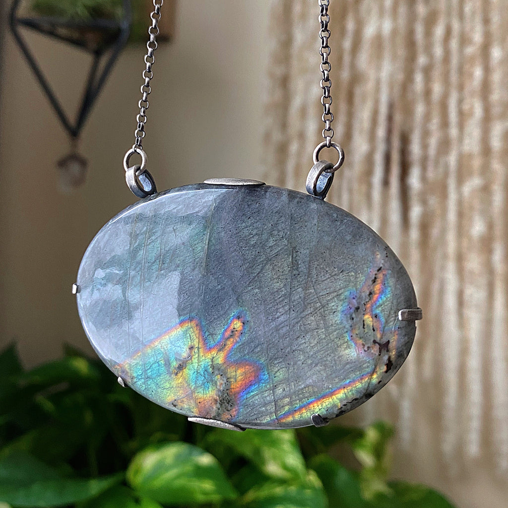 Labradorite New Moon Necklace #3 - Sterling Silver