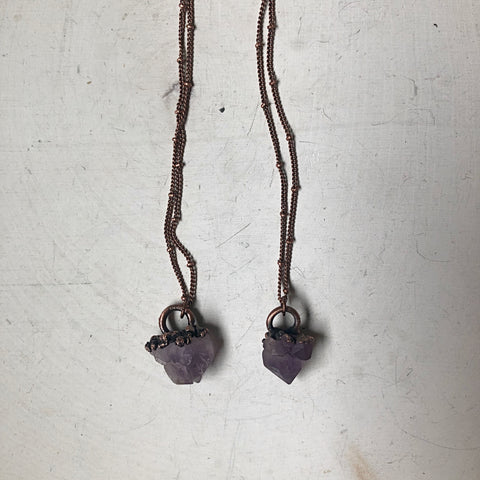 Raw Tibetan Amethyst Mini Cluster Necklace - Ready to Ship