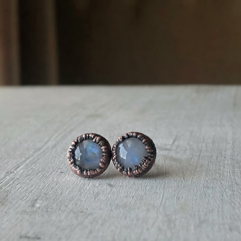 Rainbow Moonstone Stud Earrings #2 - Ready to Ship
