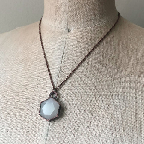 White Moonstone Hexagon Necklace #5 - Ready to Ship