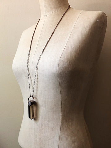 Smoky Quartz Point with Rainbow Moonstone Necklace - Ready to Ship (Flower Moon Collection)
