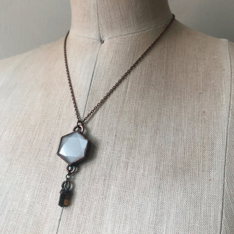 White Moonstone Hexagon and Dravite Necklace #2 - Ready to Ship