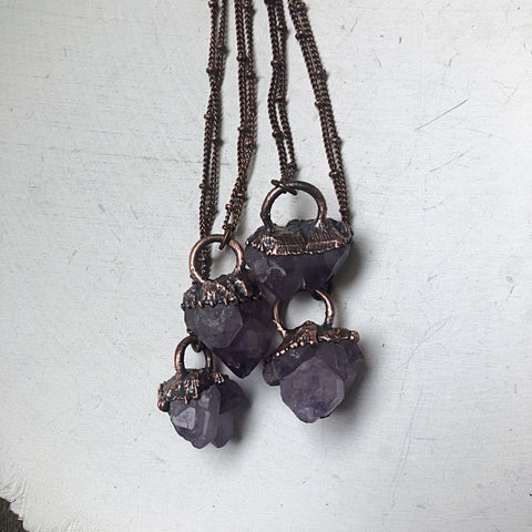 Raw Tibetan Amethyst Mini Cluster Necklaces - Snow Moon Collection