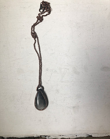 Silver Obsidian Teardrop Necklace #2 (Ready to Ship) - Darkness Calling Collection