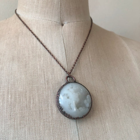 White Agate Druzy Full Moon Necklace - Ready to Ship
