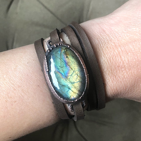 Labradorite and Leather Wrap Bracelet/Choker #1 - Spring Equinox Collection