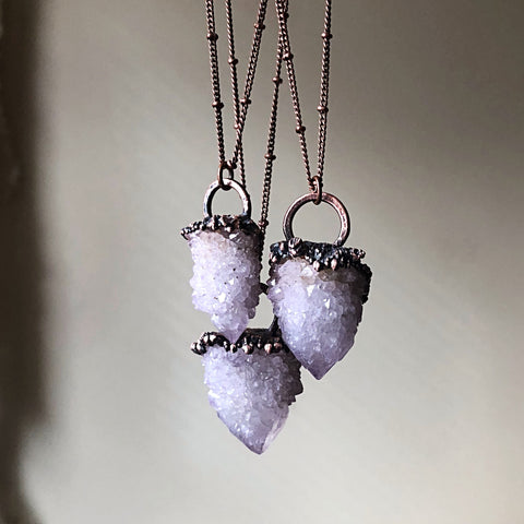 Amethyst Spirit Quartz Point Necklace - Snow Moon Collection