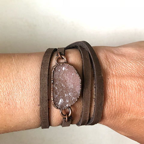 Champagne Druzy and Leather Wrap Bracelet/Choker (Satya Collection)