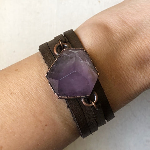 Amethyst Hexagon and Leather Wrap Bracelet/Choker