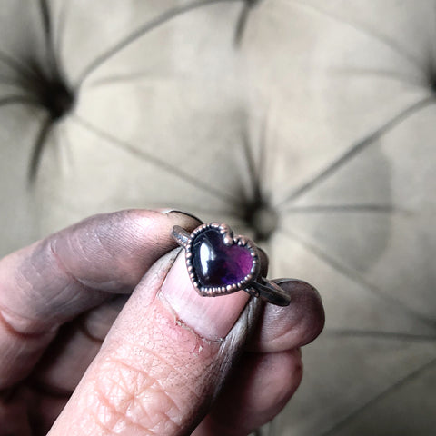Amethyst Ring - Heart #1 (Size 8.25) - Ready to Ship