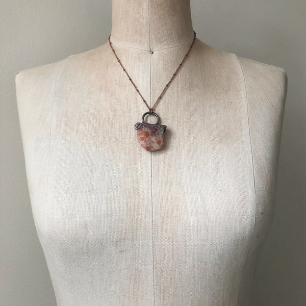 Raw Sunstone Necklace #2 - Ready to Ship