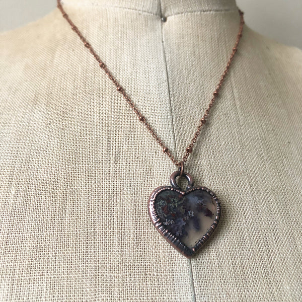 Moss Agate Heart Necklace #3 - Ready to Ship