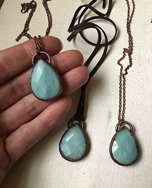 Faceted Amazonite Large Teardrop Necklace (Satya Collection)
