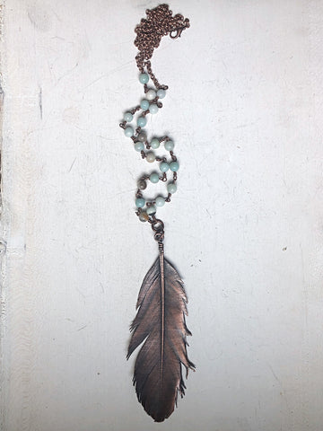 Large Electroformed Feather & Amazonite Necklace #1 - Moksha Collection