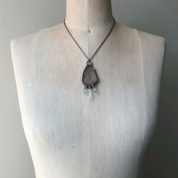 Druzy & Raw Clear Quartz Statement Necklace #3 - Ready to Ship