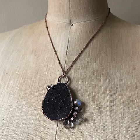 Dark Gray Druzy, Rainbow Moonstone & Clear Quartz Necklace #1 - Ready to Ship