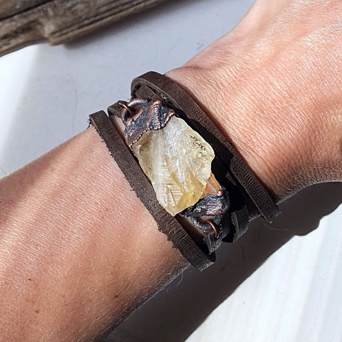 Raw Citrine & Leather Wrap Bracelet/Choker #2 (Icarus Soaring Collection)