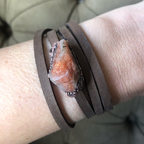Raw Sunstone and Leather Wrap Bracelet/Choker - Made to Order