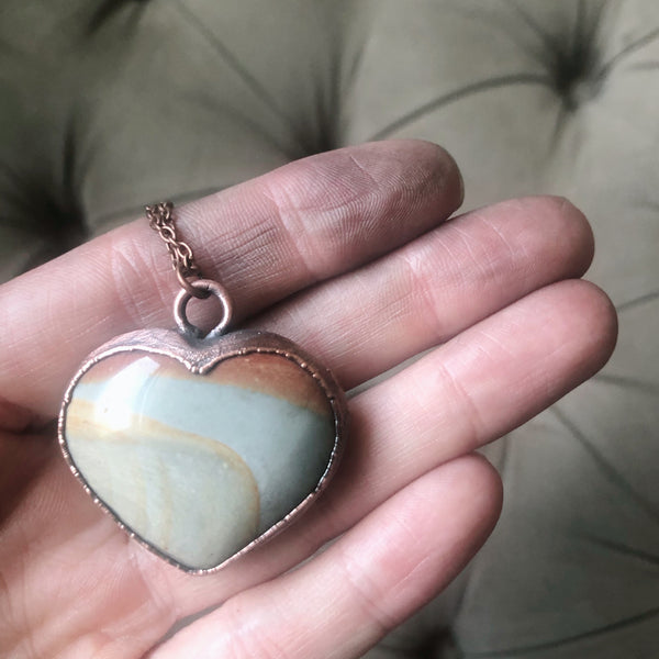 Polychrome Jasper Heart Necklace #11