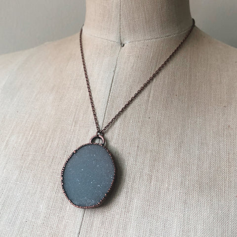 White Druzy Necklace (Oval)- Ready to Ship