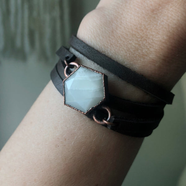 White Moonstone Hexagon and Leather Wrap Bracelet/Choker #2 - Ready to Ship