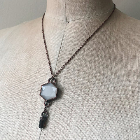 White Moonstone Hexagon and Dravite Necklace #1 - Ready to Ship
