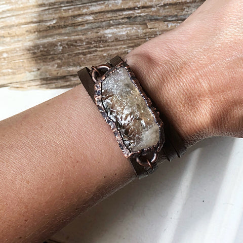 Raw Citrine & Leather Wrap Bracelet/Choker #1 (Icarus Soaring Collection)
