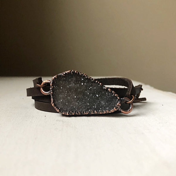 Gray Druzy and Leather Wrap Bracelet/Choker #5 - Ready to Ship