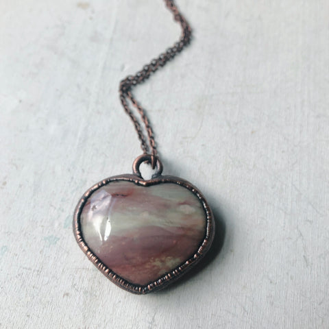 Polychrome Jasper Heart Necklace #10