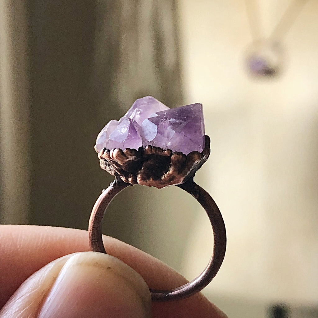 Tibetan Amethyst Mini Cluster Ring #1 (Size 5.25-5.5) - Tell Tale Heart Collection