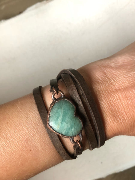 Amazonite Heart and Leather Wrap Bracelet/Choker (Satya Collection)