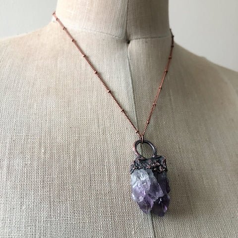 Raw Amethyst Cluster Necklace - Ready to Ship