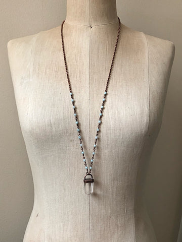 Polished Clear Quartz Point Necklace with Amazonite Accented Chain (Satya Collection)