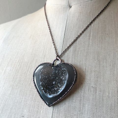 "Agate Druzy ""Broken Open"" Heart Necklace #2 - Ready to Ship"