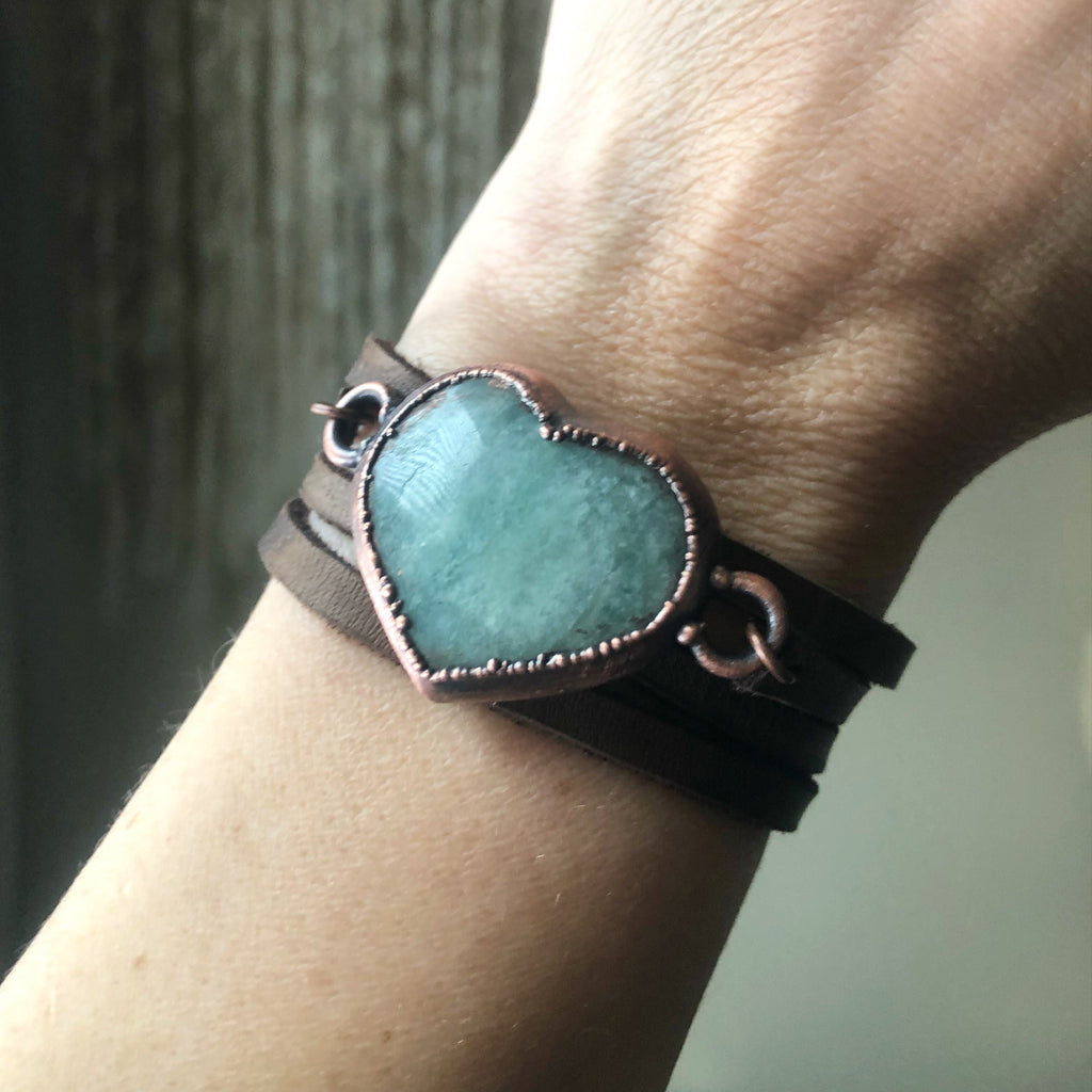Amazonite Heart and Leather Wrap Bracelet/Choker - Made to Order