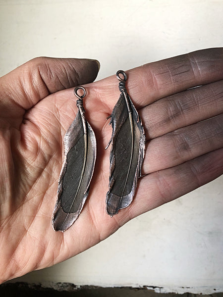 Electroformed Dark Gray Feather Necklace #2 (Ready to Ship) - Darkness Calling Collection