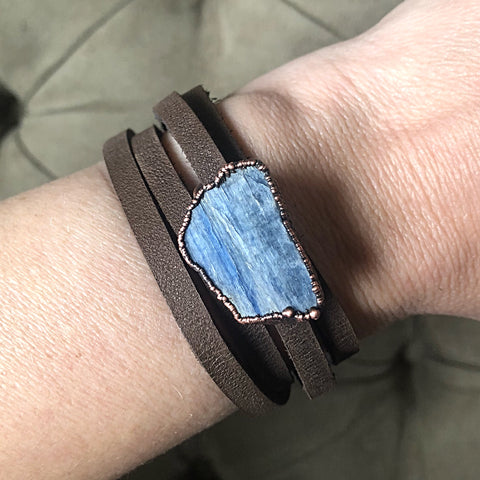Raw Blue Kyanite and Leather Wrap Bracelet/Choker - Ready to Ship