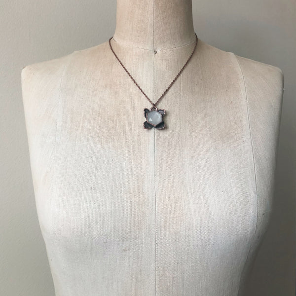 White Moonstone Hexagon and Hydrangea Necklace #1 - Ready to Ship